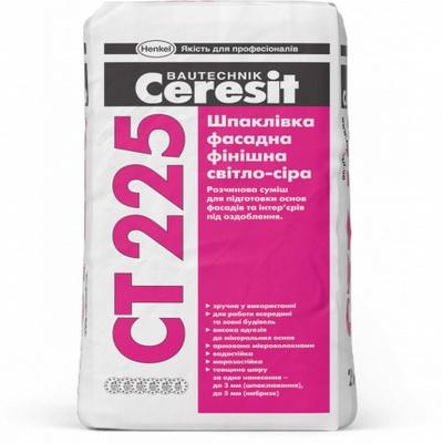 Шпаклевка фасадная финишная Ceresit СТ 225 светло-серая, 25 кг.