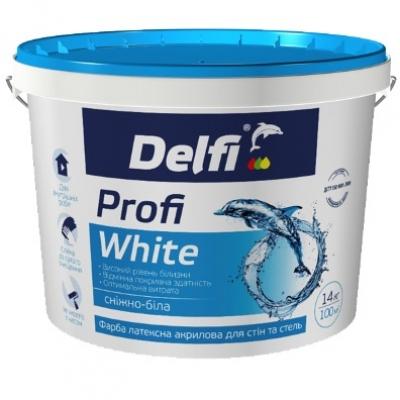 Краска латексная акриловая для стен и потолков Profi White, DELFI
